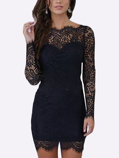 Lace Backless Mini Dress in Black