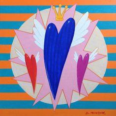Dimitris C. Milionis - POP HEART- Original Acrylic Painting Signed Greek 2016 #PopArt