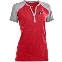 Antigua San Francisco 49ers Ladies Shine Split Neck Premium T-Shirt - Red/Ash
