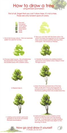 Tree drawing tutorial by Morpho-Deidamia on DeviantArt Tree drawing tutorial. Great to do with Ss from transitioning between pencil/pen and paint. Watercolor Water, Watercolor Trees, Easy Watercolor, Watercolour Tutorials, Watercolor Paintings, Painting Clouds, Watercolor Landscape Tutorial, Watercolor Lesson, Tree Paintings