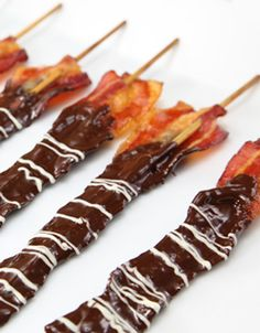 Chocolate Covered Bacon Recipe - How To Make Chocolate Bacon. For best results, use Chocoley Bada Bing Bada Boom Candy & Molding Gourmet Compound Chocolate (available in dark, milk & white) OR Belgia (Best Chocolate Dip) Chocolate Candy Molds, Best Chocolate, Chocolate Recipes, Chocolate Covered Bacon, Dipping Chocolate, Bacon Chocolate, Melted Chocolate, Chocolate Dipped, Bacon Recipes