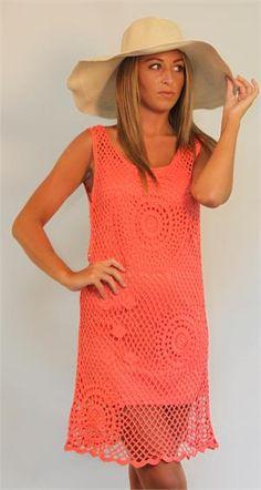 ANGIE Crochet Tank Dress Coral