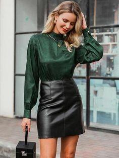 Night Outfits, Fashion Outfits, Womens Fashion, Trendy Fashion, Leg Of Mutton Sleeve, Black Leather Mini Skirt, Satin Top, Sexy Blouse, Satin Blouses