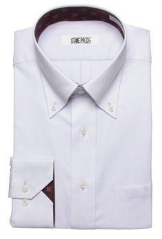 はるやま|Haruyama|ONE PIECEデザインシャツ|ボタンダウンワイシャツ    袖裏・襟裏に海賊旗デザインが見え、さりげないおしゃれ感を演出しています。ノーネクタイでも決まるボタンダウンタイプ。形態安定加工でお手入れも簡単です。