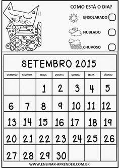 """CALENDÁRIOS 2015 PARA CADERNO OU AGENDA, TEMA ROMERO BRITO ~ """"Atividades Escolares"""""""