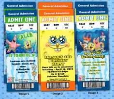PERSONALIZED – SPONGEBOB Birthday Party Invitations Admission Ticket Style 12ct-40ct Fast
