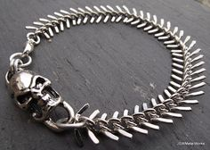 Skull and Bones Bracelet Skull and Spine Silver by JSWMetalWorks, $35.00