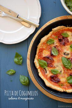 Bocadinhos de Açúcar: Pizza de Cogumelos, Salame e Manjericão