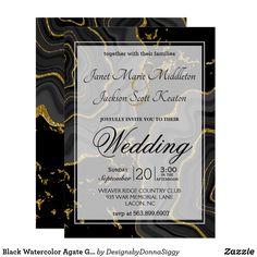 Shop Black Watercolor Agate Geode Stone Invitation created by DesignsbyDonnaSiggy. Modern Wedding Invitations, Wedding Invitation Design, Zazzle Invitations, Party Invitations, Exactly Like You, Agate Geode, Rsvp, Bridal Shower, Card Making