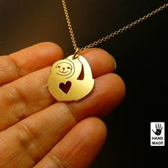 Cute SLOTH handmade goldplated sterling silver by StefanoArt