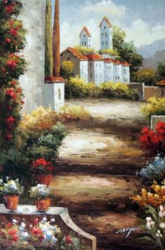Painting: Italian Country Village Tuscany Homes Landscape Art Stretched 24X36 Oil Painting