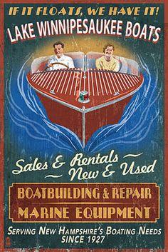 Lake Winnipesaukee, New Hampshire - Vintage Boat Sign - Lantern Press Poster