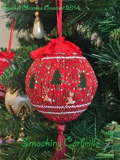 Smocked Christmas Ornament 2014 ~Smocking Corbeille,Tokyo,Japan