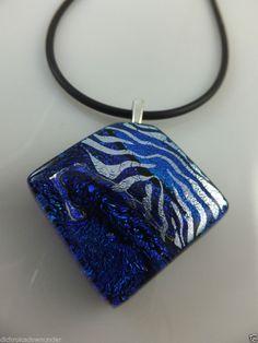 * DIAMOND IN PURPLE, BLUE & SILVER * Handmade Dichroic Glass Pendant  + Cord by Cheryl Smith