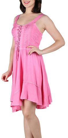 Lapogee Inc womens Stonewashed Embroidered Rayon Short Dress