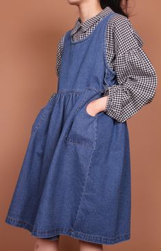 Drop shoulder balloon sleeve gingham blouse with full skirted denim dress - with pockets! Asian Fashion, Look Fashion, Hijab Fashion, Girl Fashion, Fashion Dresses, Womens Fashion, Vintage Outfits, Vintage Fashion, Mein Style