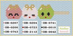 diagramme de brochette dango horizontale pour tissage brick stitch Kawaii, Barrette, Bead Weaving, Seed Beads, Diy Jewelry, Charms, Miniatures, Patterns, Bracelets