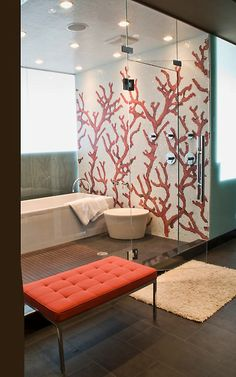 Tapicería y glamour en el baño. Dream Home by Rottmann Collier Architects