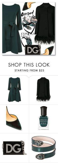 """Emerald City: Pops of Green"" by andrejae ❤ liked on Polyvore featuring Claudie Pierlot, Boutique Moschino, Christian Louboutin, Deborah Lippmann, Dolce&Gabbana, Bulgari and emeraldgreen"
