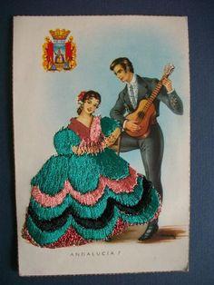 embroidered postcards antique elsi gumier   Andalucia 7 Embroidered Silk Postcard by Elsi Gumier Postmarked 1958 ...
