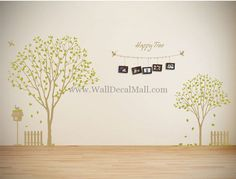 Happy Tree With Flying Birds Wall Decals– WallDecalMall.com