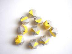 Silver & Yellow Geometric Natural Wood BeadsDo it by LiKeBeads8