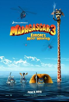 Madagascar 3 - Movie Poster   #movies  #movieposters    I love this flick would like to see it again ! wish I had this promo poster at my room