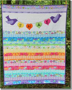 I love the idea of the name on the quilt.
