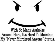 """with so many assholes around here it's hard to maintain my """"never murdered anyone"""" status Quotes To Live By, Me Quotes, Quotes White, English, It Goes On, Adult Humor, Some Words, Just For Laughs, Laugh Out Loud"""