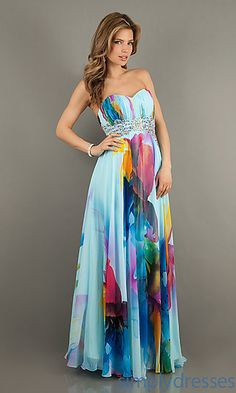 Strapless Print Prom Gown by Jasz 4800 at SimplyDresses.com