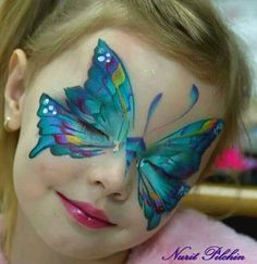 Pretty butterfly face paint mask by Nurit Pilchin face painting ideas for kids Mime Face Paint, Girl Face Painting, Belly Painting, Face Painting Designs, Paint Designs, Painting For Kids, Butterfly Face Paint, Butterfly Art, Butterfly Makeup
