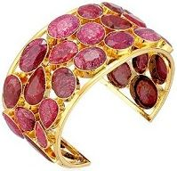 #Jewelry #Bangle #Bracelet Devon Leigh Faceted Ruby Gold Tone Cuff