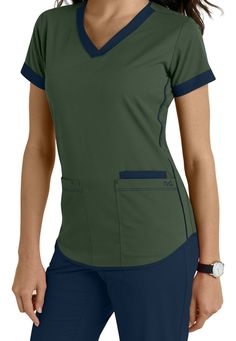 Barco NRG 3 Pocket Contrast Trim Scrub Tops Main Image