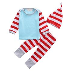 >> Click to Buy << 3pcs Set Casual Newborn Baby Clothes Infant Boy Girl Long Sleeve Cotton T-Shirt Tops Striped Pant Hat Outfits Bebes Autumn Suit #Affiliate