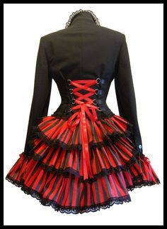 VV ROCKET MISTRESS Carnivale Steampunk Gothic Dandy Bustle Corset Jacket Frock Coat Plus Size Victorian Circus Couture - Lovechild Boudoir