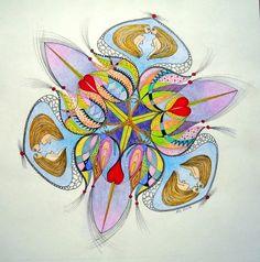 "Mandalala No.78, "" FLOWER NAIADES TALKS "", 2014, 40 x 40 cm"