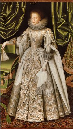 Diana de Vere, nee Cecil, Countess of Oxford, 1614 William Larkin. Diana Cecil's dress is an amazing tour de force of slashing in this portrait by William Larkin. Elizabethan Dress, Elizabethan Fashion, Elizabethan Clothing, Renaissance Mode, Renaissance Fashion, 1500s Fashion, Historical Costume, Historical Clothing, Men's Clothing