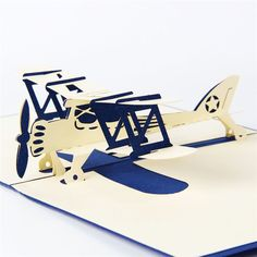 5pcs/lot Handmade 3D Laser Cut Pop UP Card 3D Airplane Model Christmas Birthday Greeting&Gift Cards