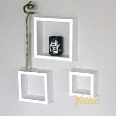 SET 3 CUBI MENSOLE LEGNO BIANCO MENSOLA CUBO DESIGN SALOTTO SOGGIORNO 3CBI | eBay