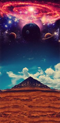 Planets glowing above the earth and what looks like a pyramid. Digital art painting.