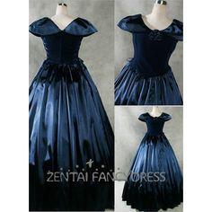 Black Cap Sleeves Round Neck Gothic Victirian Dress Satin Lolita Dress