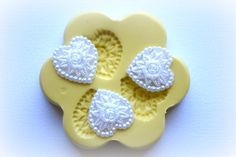 0867 3 Fancy floral Heart Cabochons Silicone Rubber by MasterMolds, $8.00
