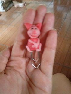 marcador de páginas clip leitão do pooh em biscuit
