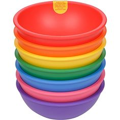 Buy Lollaland Plastic Bowls for Kids Rainbow Assorted): Made in USA, Microwave-/Dishwasher-Safe … Plastic Bowls, Cereal Bowls, Consumer Products, Baby Feeding, Different Shapes, Dishwasher, Tableware, Fun, How To Make