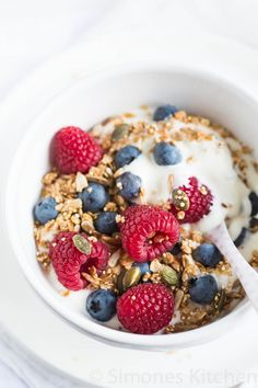 Quinoa is great for making crunchy granola. Get your morning in gear with added pumpkin, sunflower seeds and warm spices. Try it on desserts, too.