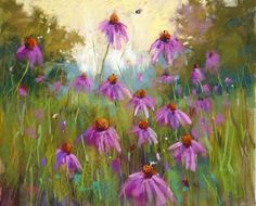 Summer Landscape Purple Coneflowers with Bumble Bees by Karen Margulis