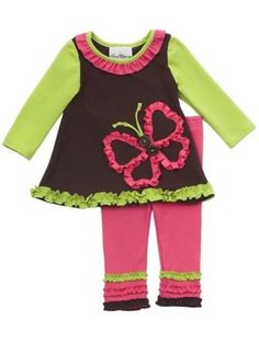 Rare Editions Toddler Girls Multi-Color Butterfly Fall Dress Leggings Outfit 2T