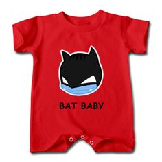 Get Batman Round Face Red Cute T-romper For Baby Outlet-Funny T-shirts | HICustom.net