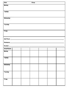 Rti reading intervention planning and organizing sheet for Response to intervention templates