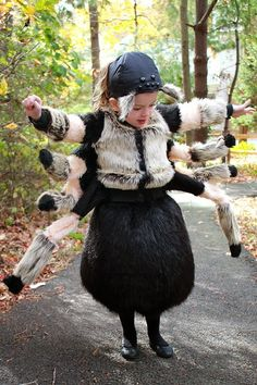 Considering a Halloween spider costume? You have to check out the Hairy Tarantula Halloween Costume: uses foam for shape so this spider costume is flexible and comfortable. | The Inspired Wren